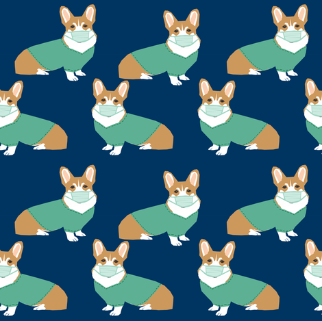 corgi in scrubs fabric operating room dog fabric dog fabric - navy fabric by petfriendly on Spoonflower - custom fabric