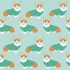 corgi in scrubs fabric operating room dog fabric dog fabric - light blue