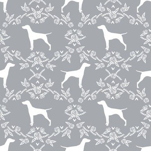 Vizsla silhouette floral pattern dog breed grey
