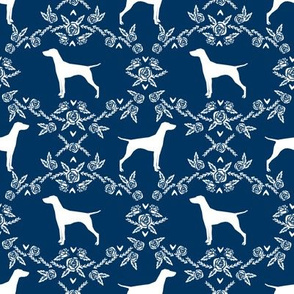 Vizsla silhouette floral pattern dog breed navy