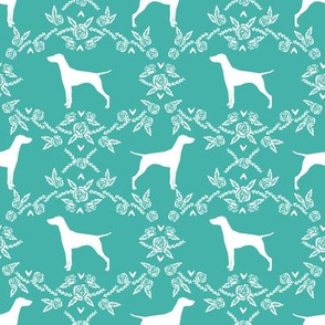 Vizsla silhouette floral pattern dog breed turquoise