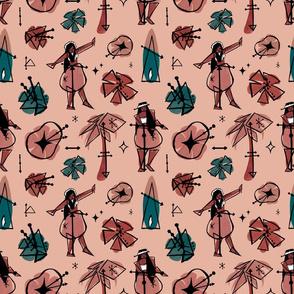 Mid-century Modern Hula in Pink