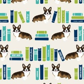 corgi library dog fabric brindle corgi design cute dogs - light