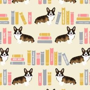 corgi library dog fabric brindle corgi design cute dogs - light peach