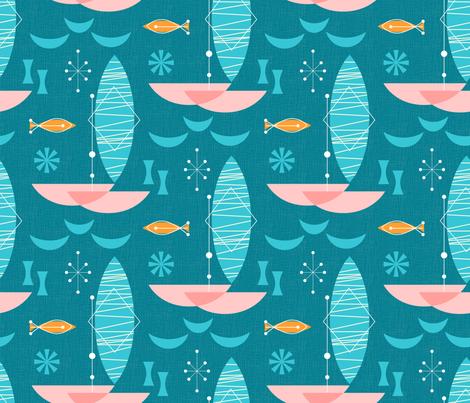 Pink Catamaran: Bg Blue fabric by mia_valdez on Spoonflower - custom fabric