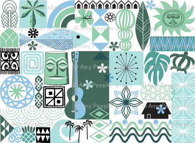 no keia hau* (Blue and Green) || Hawaii Hawaiian sun beach tropical palm trees atomic midcentury modern leaves flowers ukulele fish honu sea turtle rainbow tiki tribal waves ocean