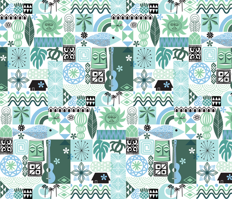 na paila* (Blue and Green) || Hawaii Hawaiian sun beach tropical palm trees atomic midcentury modern leaves flowers ukulele fish honu sea turtle rainbow tiki tribal waves ocean fabric by pennycandy on Spoonflower - custom fabric