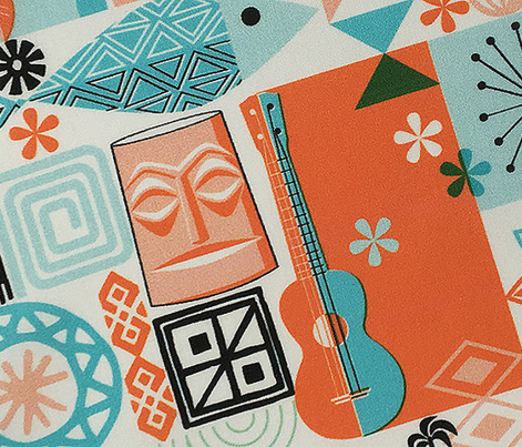 no keia hau*  (Orange and Turquoise) || Hawaii Hawaiian sun beach tropical palm trees atomic midcentury modern leaves flowers ukulele fish honu sea turtle rainbow tiki tribal waves ocean