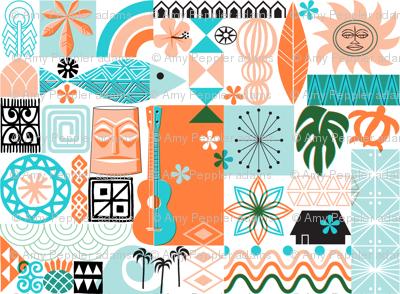 na paila*  (Orange and Turquoise)    Hawaii Hawaiian sun beach tropical palm trees atomic midcentury modern leaves flowers ukulele fish honu sea turtle rainbow tiki tribal waves ocean