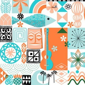 na paila*  (Orange and Turquoise) || Hawaii Hawaiian sun beach tropical palm trees atomic midcentury modern leaves flowers ukulele fish honu sea turtle rainbow tiki tribal waves ocean