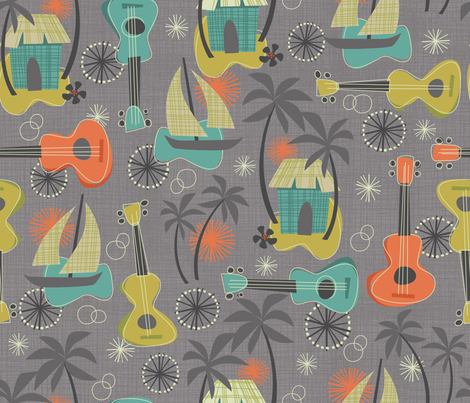 UKULELE ALOHA: Island breeze  fabric by bzbdesigner on Spoonflower - custom fabric