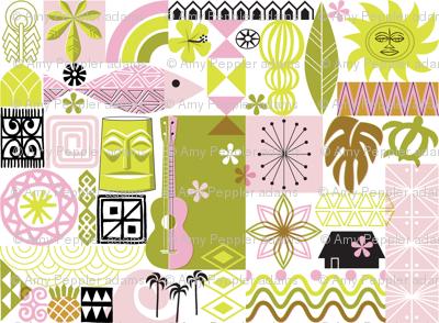 na paila* (Pink and Chartreuse) || Hawaii Hawaiian sun beach tropical palm trees atomic midcentury modern leaves flowers ukulele fish honu sea turtle rainbow tiki tribal waves ocean