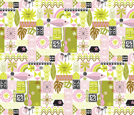 na paila* (Pink and Chartreuse) || Hawaii Hawaiian sun beach tropical palm trees atomic midcentury modern leaves flowers ukulele fish honu sea turtle rainbow tiki tribal waves ocean fabric by pennycandy on Spoonflower - custom fabric