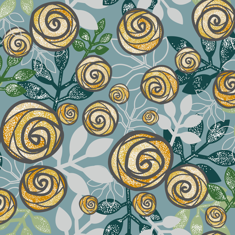 Snowy Rose Floral Print in Blue, Green, Yellow by Amborela fabric by amborela on Spoonflower - custom fabric