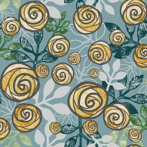Snowy Rose Floral Print in Blue, Green, Yellow by Amborela