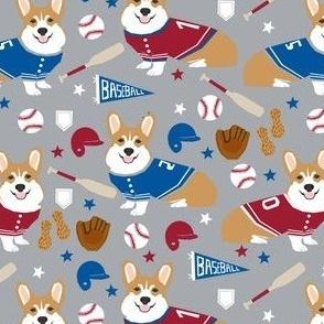 corgi baseball fabric usa america summertime fabric red white and blue - grey