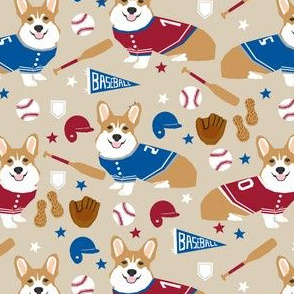 corgi baseball fabric usa america summertime fabric red white and blue - sand