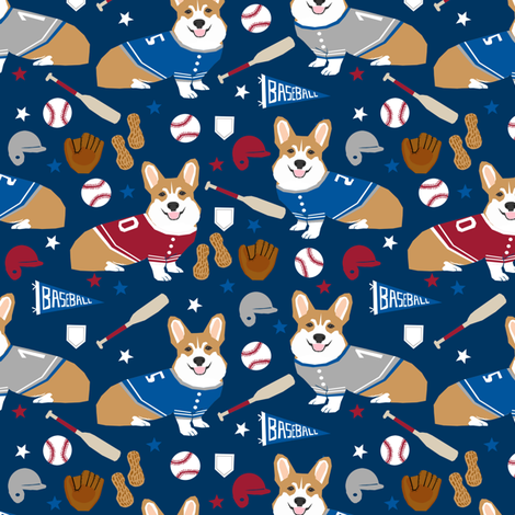 corgi baseball fabric usa america summertime fabric red white and blue - navy fabric by petfriendly on Spoonflower - custom fabric