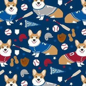 corgi baseball fabric usa america summertime fabric red white and blue - navy