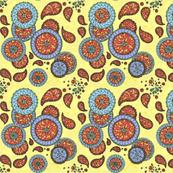 Mandala & Paisley on yellow