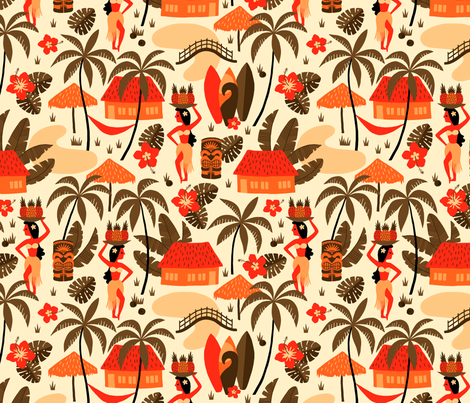 Hawaiian Village Mid-Century orange fabric by heleen_vd_thillart on Spoonflower - custom fabric