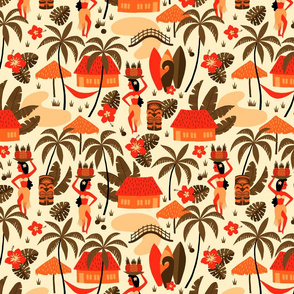 Hawaiian Village Mid-Century orange