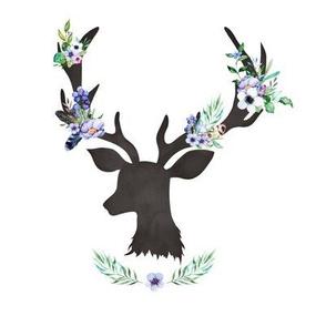 """8"""" Purple Floral Deer"""