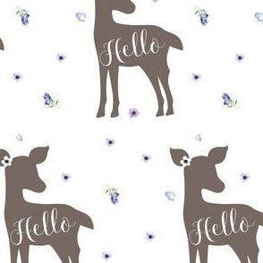 """4"""" Hello Deer / Purple flowers"""