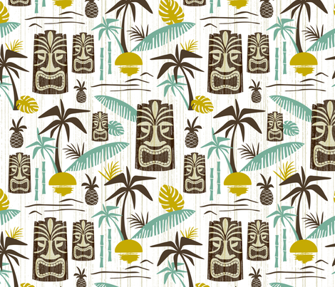 Island Tiki  fabric by heatherdutton on Spoonflower - custom fabric