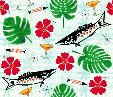 Mid Century Modern Tropical Paradise fabric by brainsarepretty on Spoonflower - custom fabric