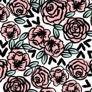 vintage roses fabric // pink rose fabric florals floral design