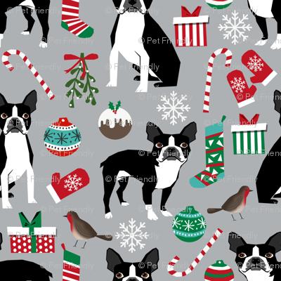 boston terrier christmas fabric holiday xmas dog design