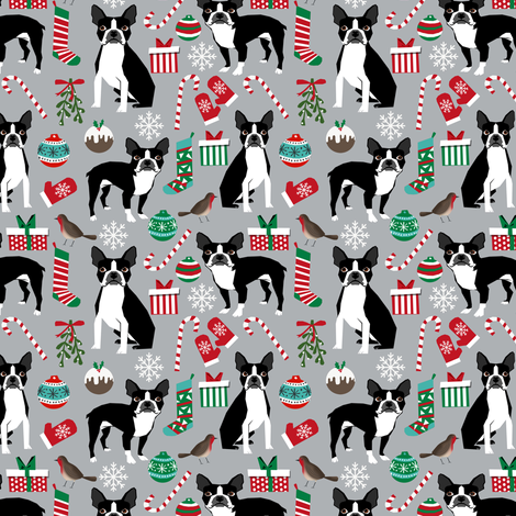 boston terrier christmas fabric holiday xmas dog design  fabric by petfriendly on Spoonflower - custom fabric