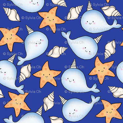 Narwhal_and_starfish_Cobalt_Blue Medium Scale