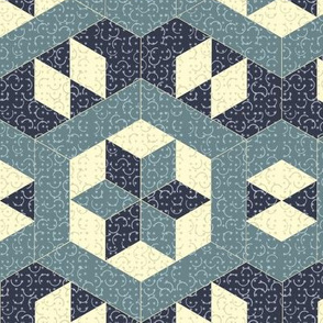 Textured Blue Hexagons and Diamonds