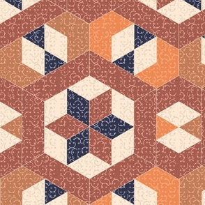 Textured Brown Hexagons and Diamonds