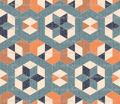 Textured Blue and Orange Hexagons and Diamonds