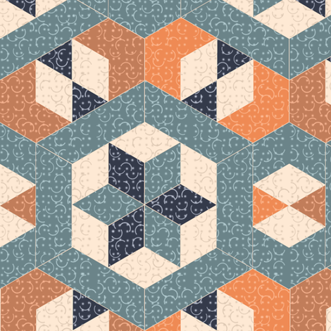 Textured Blue and Orange Hexagons and Diamonds fabric by eclectic_house on Spoonflower - custom fabric