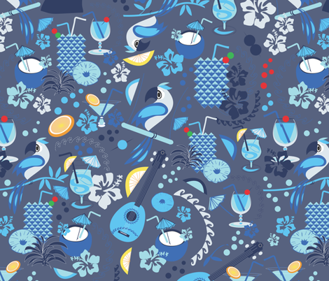 Happy Hour Hawaii blues fabric by colour_angel_by_kv on Spoonflower - custom fabric