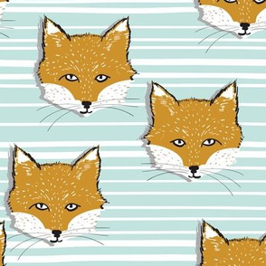 Foxy stripe (mustard + sky blue)