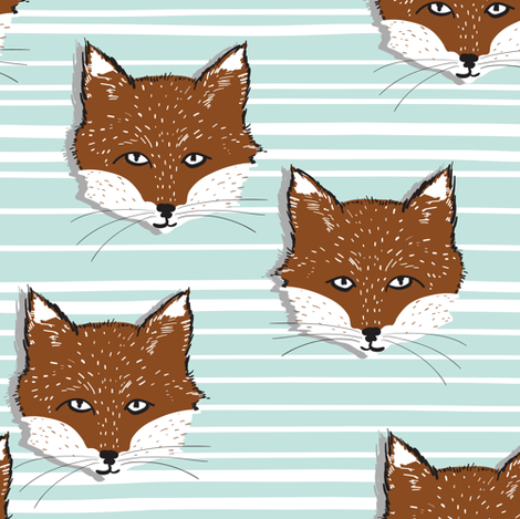 Foxy Stripe (sienna/powder blue) fabric by nouveau_bohemian on Spoonflower - custom fabric