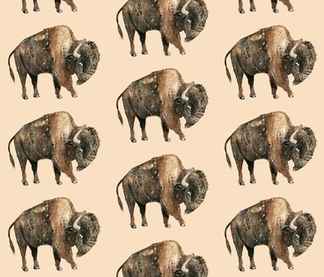 Buffalo on Tan fabric by taraput on Spoonflower - custom fabric