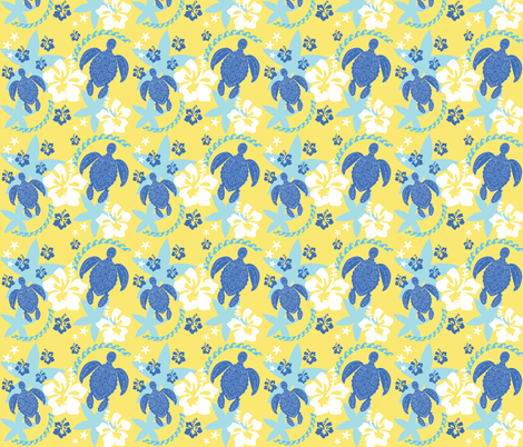 Island Turtles Swimming_blue_hawaii fabric by colour_angel_by_kv on Spoonflower - custom fabric