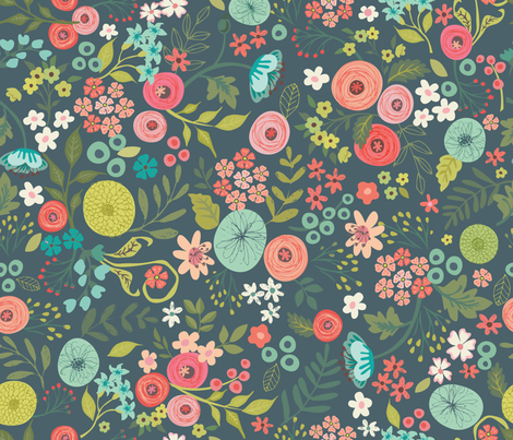Bouquet_No3 fabric by bzbdesigner on Spoonflower - custom fabric