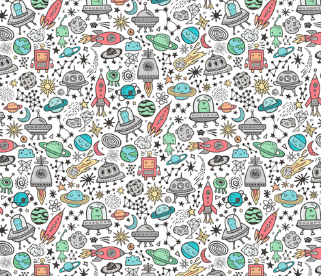 Space Galaxy Universe Doodle with Aliens, Rockets, Planets, Robots & Stars on White fabric by caja_design on Spoonflower - custom fabric