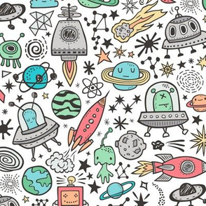 Space Galaxy Universe Doodle with Aliens, Rockets, Planets, Robots & Stars on White