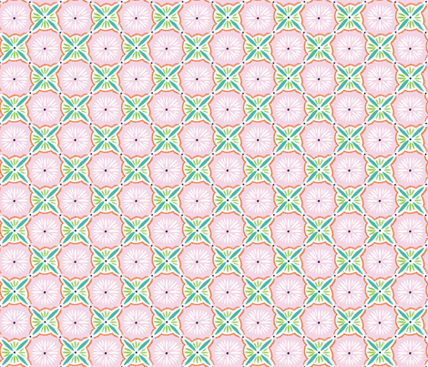 Daisy Tile - Pink Turquoise fabric by jillbyers on Spoonflower - custom fabric