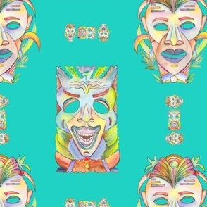 WATERCOLOR TIKI MASKS  AQUA BLUE