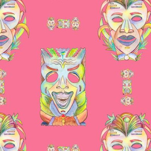 WATERCOLOR TIKI MASKS SWEET PINK