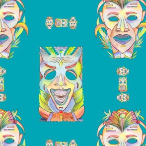 WATERCOLOR TIKI MASKS TURQUOISE TEAL